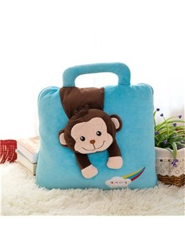 Blue Monkey Pattern Dual-Use Portable Throw Pillow/Blanket