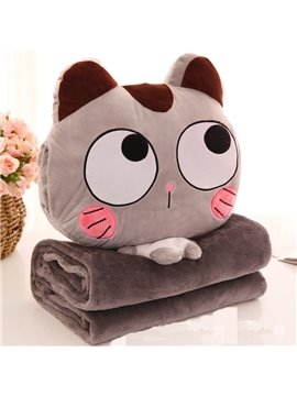 Light Brown Cat with Big Eyes Design Dual-Use Portable Throw Pillow /Blanket