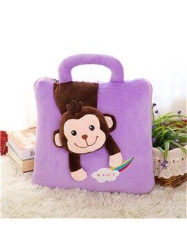 Purple Monkey Pattern Dual-Use Portable Throw Pillow/Blanket