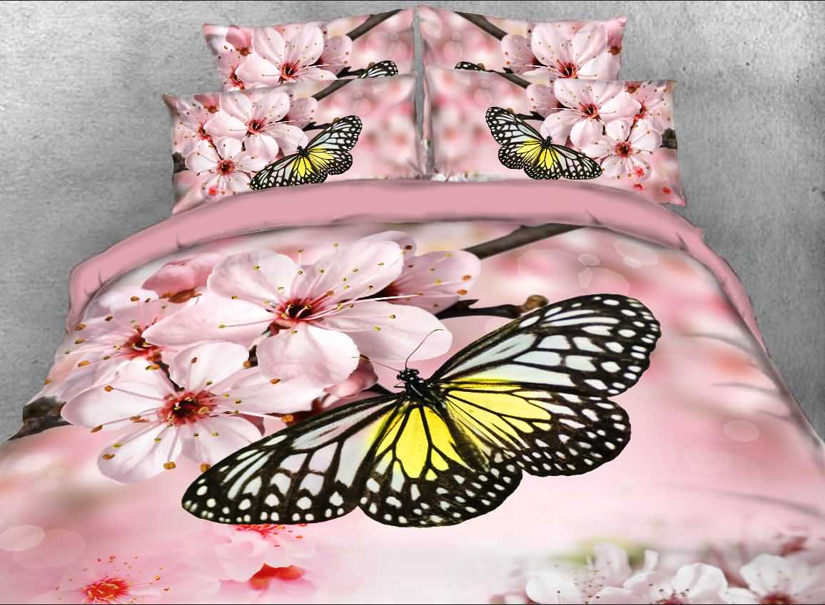 Onlwe 3D Butterfly and Pink Peach Blossom Printed 4-Piece Bedding Sets/Duvet Covers beddinginn