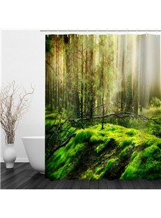 Green Forest Polyester Waterproof and Eco-friendly 3D Shower Curtain
