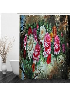 3D Peonies Pattern Polyester Waterproof and Eco-friendly Shower Curtain
