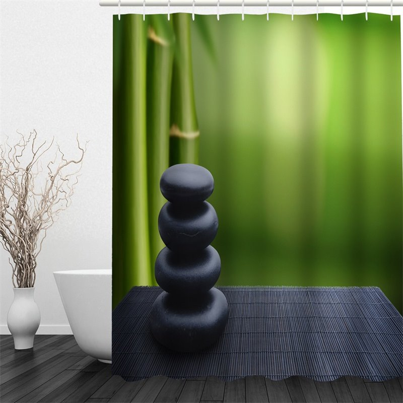 Black Stones and Green Bamboos Polyester Waterproof and Eco-friendly 3D Shower Curtain