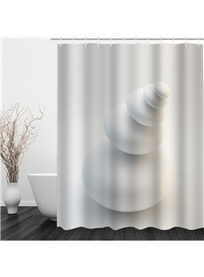 White Stones Pattern Polyester Waterproof and Eco-friendly 3D White Shower Curtain