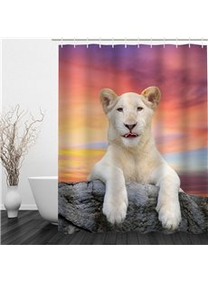 White Dog Pattern Polyester Waterproof and Eco-friendly 3D Shower Curtain