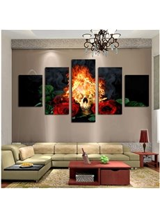 Fire Skull and Roses Hanging 5-Piece Canvas Eco-friendly and Waterproof Non-framed Prints