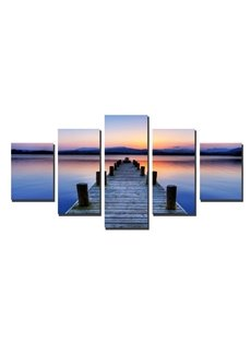 Wooden Path over River in Sunset Hanging 5-Piece Canvas Eco-friendly Waterproof Non-framed Prints