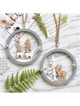 Deer Single Couple Wood with Rope Christmas Hang Decor