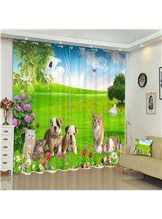 3D Dogs Cats and Rabbits on Grassland Printed Thick Polyester 2 Panels Decorative Curtain