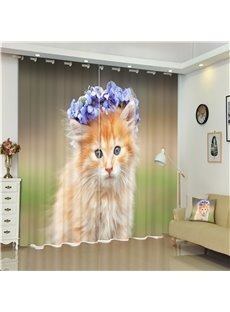 3D Small Cat with Garland of Flowers Printed Living Room and Bedroom Shading Curtain