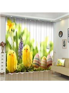 Lovely and Cute Small Yellow Chickens with Colorful Eggs Living Room Decorative 3D Curtain