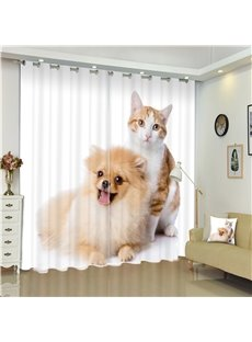 Lovely Cat and Cut Dog Living Room and Bedroom Decorative and Blackout 3D Curtain