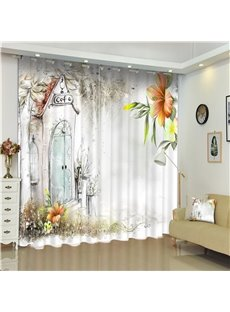 3D Sketch with Lily Flowers and Small Cafe House Printed Living Room Window Curtain