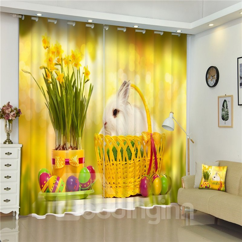 3D Lovely White Rabbit in Basket and Beautiful Flowers Printed Living Room Custom Curtain