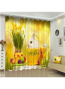 3D Lovely White Rabbit in Basket and Beautiful Flowers Printed Living Room and Bedroom Curtain