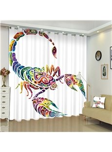 3D Creative and Colorful Crab Printed Decorative and Blackout Window Curtain