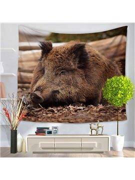 Brown Wild Boar Lying in Woods Pattern Decorative Hanging Wall Tapestry