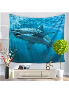 Shark Swimming Under Ocean World Decorative Hanging Wall Tapestry