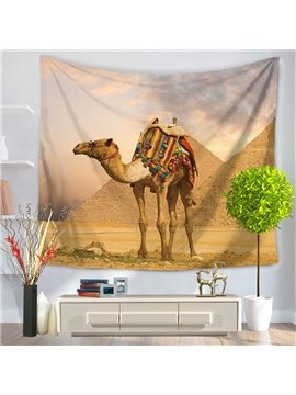 Egypt Pyramid and Loading Camel Pattern Decorative Hanging Wall Tapestry