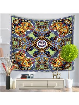 Symmetric Mandala Pattern Ethnic Style Decorative Hanging Wall Tapestry
