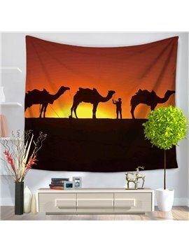 Sunset Desert and Camels Pattern Decorative Hanging Wall Tapestry