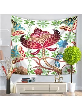 Colorful Paper-Cut Art Flowers and Leaves Pattern Decorative Hanging Wall Tapestry