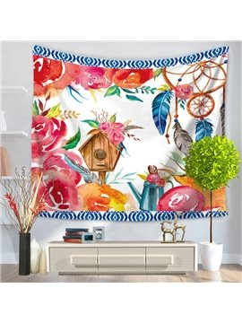 Watercolor Painting Dreamcatcher and Flowers Pattern Decorative Hanging Wall Tapestry