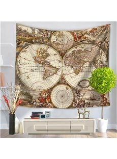Columbus Voyages World Map Pattern Vintage Style Decorative Hanging Wall Tapestry