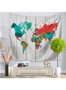 Colorful World Map Pattern Vintage Style Decorative Hanging Wall Tapestry