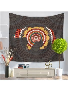 Floral Mandala Pattern with Partial Gray Yarn Ethnic Style Decorative Hanging Wall Tapestry