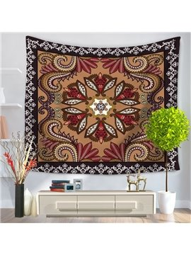 Bohemia Style Floral Mandala with Edge Pattern Decorative Hanging Wall Tapestry