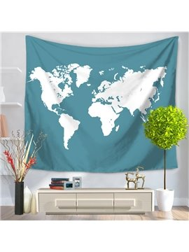 World Map White Color Continent Blue Decorative Hanging Wall Tapestry