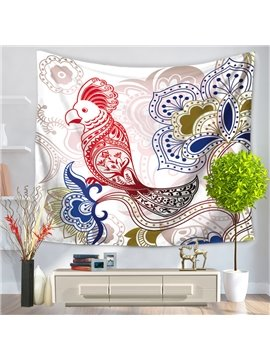 Paper-Cut Cock and Floral Pattern Fresh Style Decorative Hanging Wall Tapestry