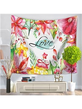 Watercolor Painting Red Flowers Pattern Decorative Hanging Wall Tapestry