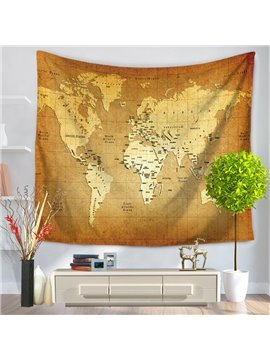 Vintage Style Yellow World Map Printed Decorative Hanging Wall Tapestry