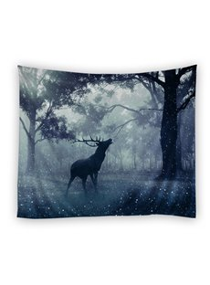 Magical Forest with Deer Pattern Ethnic Style Decorative Hanging Wall Tapestry
