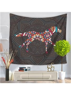 Mandala with Horse Shape Pattern Ethnic Style Decorative Hanging Wall Tapestry