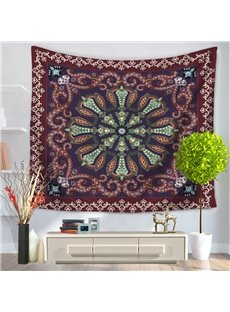 Mandala Pattern with Floral Frame Ethnic Style Decorative Hanging Wall Tapestry