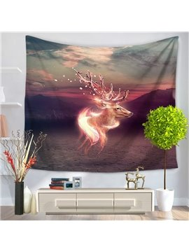 Disappearing Wapiti Over River Magical Decorative Hanging Wall Tapestry