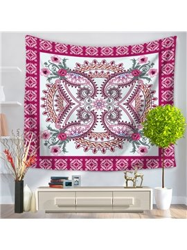 Floral Mandala Pattern with Grid Frame Decorative Hanging Wall Tapestry