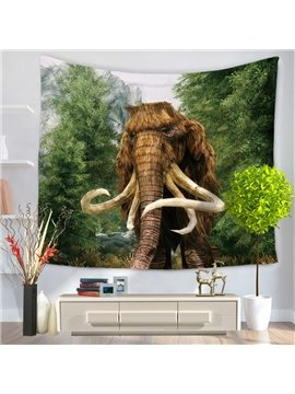 Wild Elephant Through Forest Pattern Decorative Hanging Wall Tapestry