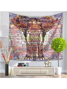 Graffiti Colorful Elephant Pattern Decorative Hanging Wall Tapestry