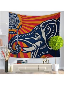 Elephant's Noses Curled with Rose Pattern Decorative Hanging Wall Tapestry