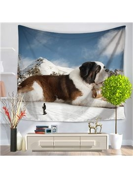 Saint Bernard Dog on Mountain Climax Pattern Decorative Hanging Wall Tapestry