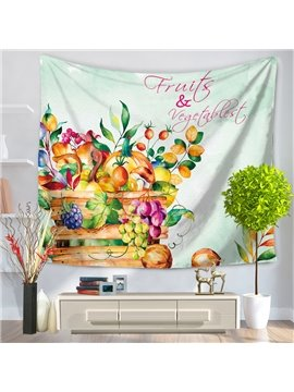 Watercolor Painting A Basket of Fruits and Vegetables Decorative Hanging Wall Tapestry