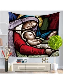 Virgin Mary and Jesus Baby Oil Painting Decorative Hanging Wall Tapestry