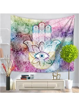 Colorful Palm with Floral Eye Pattern Ethnic Style Decorative Hanging Wall Tapestry