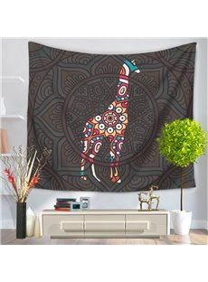 Mandala with Giraffe Pattern Exotic Style Decorative Hanging Wall Tapestry