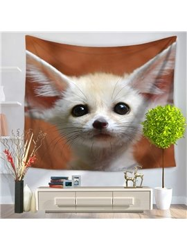 Pitiful and Cute White Wildlife Fennec Fox Decorative Hanging Wall Tapestry