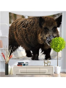 Black Boar Standing Still Pattern Decorative Hanging Wall Tapestry